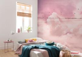 Komar Pure P017-VD4 Cloud Wire/Wolken/Vogels/Roze Fotobehang Noordwand