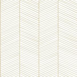 Esta Home Black & White Behang 155-139135 Visgraat Motief/Modern/Streep/Wit/Goud