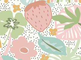 BN Wallcoverings Doodleedo Fotobehang 300443DX Strawberry Field XL/Aardbeien/Bloemen/Bladeren/Regenboog