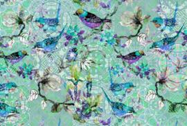 AS Creation Living walls by Patel Fotobehang DD110257 Mosaic Birds3/Bloemen/Vogels/Tegel Behang