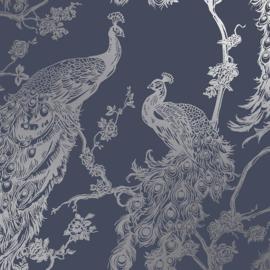 Dutch Wallcoverings Indulgence Behang 12960 Glistening Peacock Navy/Pauw/Vogels