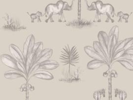 BN Wallcoverings Doodleedo Behang 220752 It Takes Two/Tropical/Dieren/Olifant/Palm/Kinderkamer