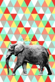 Esta XL Photowalls For Kids Fotobehang 158707 Elephant /Olifant/Driehoek/Kinderkamer