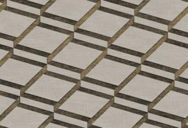Hookedonwalls Blooming Behang BL22731 Squares/2 Dimensional/Modern/Taupe/Goud