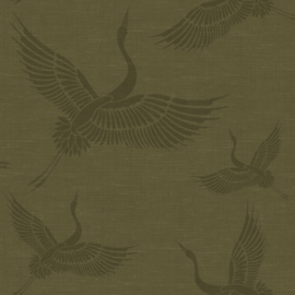 Origin Natural Fabrics Behang 351-347758 Cranes/Kraanvogels/Vogels/Japan/Dieren