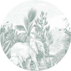 Esta Home Forest Friends Zelfklevende Behangcirkel 159087 Jungle/Dieren/Planten
