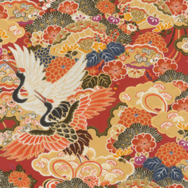 Rasch Kimono Behang 409345 Kraanvogels/Bloemen/Japan