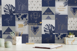 Dutch Wallcoverings/First Class Utopia Behang 91162 Adventure Navy/Natuurlijk/Modern/Olifant/Giraf