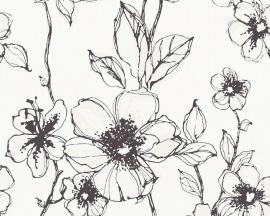 Zwart/Wit  93674-1 Bloemen Behang Outlet-ASCreation