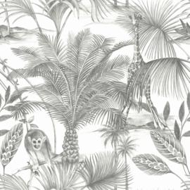 Dutch Wallcoverings Jungle Fever Behang JF3501 Kidatu/Tropical/Bomen/Bladeren/Giraf/Apen