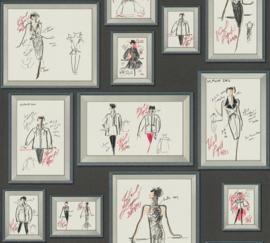 AS Creation Karl Lagerfeld Behang 37846-1 Schetsen/Mode/Fotolijst