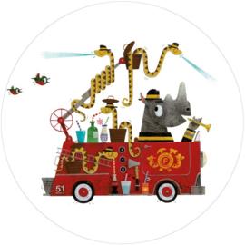 KEK Amsterdam Kids CK-018 Firetruck/Brandweerwagen/Auto/Kinderkamer/Cirkel Behang