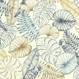 Noordwand Sejours & Chambres Behang 51193401 Botanisch/Natuurlijk/Bladeren/Jute Structuur