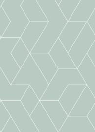 Esta Home Art Deco Fotobehang 158963 Graphic Lines/Grafische Lijnen/Modern/Vergrijsd Groen
