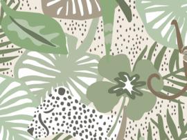 BN Wallcoverings Doodleedo Fotobehang 300439DX Into the Wild/Dieren/Panter/Apen/Botanisch/Kinderkamer