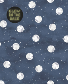Eijffinger Mini Me Behang 399032 Stippen/Dots/Glow in the dark/Maan/Blauw