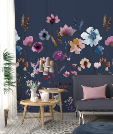 Behangexpresse Colorful Behang INK7285 Meadow Love blue/Botanisch/Bloemen/Planten Fotobehang