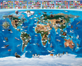 Walltastic 2020/Dutch Wallcoverings Fotobehang 41851 Map of the World/Wereldkaart/Kinderkamer behang