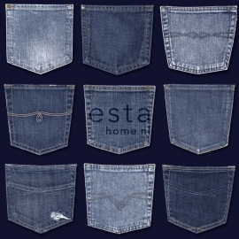 Esta Home Denim & Co Behang 137741 Jeans Pocket Blue/Tienerkamer/Spijkerbroeken Behang