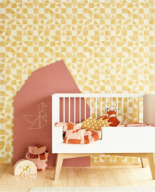 Eijffinger Mini Me Behang 399093 Scandinavisch/Grafisch/Geometrisch/Kinderkamer/Oker