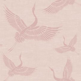 Origin Natural Fabrics Behang 351-347757 Kraanvogels/Vogels/Dieren/Roze