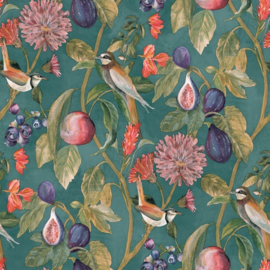 Dutch Wallcoverings/First Class Utopia Behang 91082 Aruba Teal/Vogels/Vruchten/Botanisch