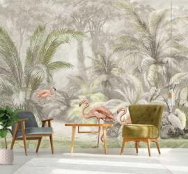 Behangexpresse Floral-Utopia Fotobehang INK7588 Pondicherry Pastel/Flamingo/Palmbomen
