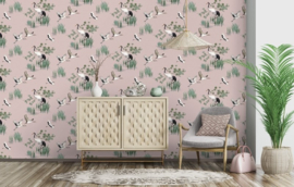 Dutch Wallcoverings/First Class Utopia Behang 91153 Heath Pink/Vogels/Kraanvogel/Natuur/Roze