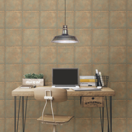 Dutch Wallcoverings Trilogy Behang FD22344 Blok Motief/Metaal/Staal/Verweerd/Klinknagels