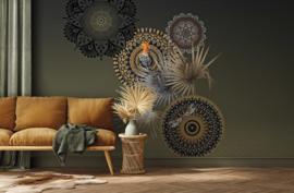 Behangexpresse Circle of Life/Select.D Fotobehang TD4151 Mojo Olive/Vogels/Mandala