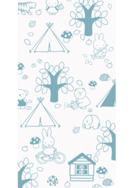 Kek Nijntje WP-532 Miffy Outdoor Fun Blue Behang - Dutch Wallcoverings/Kek Amsterdam
