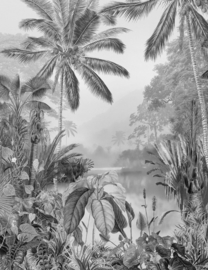 Noordwand Komar Raw Fotobehang R2-008 Lac Tropical Black & White/Bomen/Planten/Botanisch/Natuurlijk
