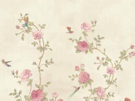 BN Wallcoverings/Voca Fiore Mural 200458 Rose Graden/Rozen/Bloemen/Vogels Fotobehang