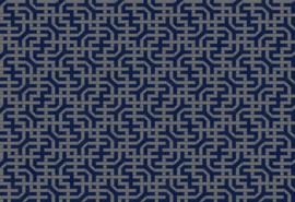 Hookedonwalls Botanical Behang 19700 Amaranthus/Grafisch/Modern/Blauw/Zilver