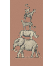 Eijffinger Mini Me Behang 399115 Safari Stack Brick/Kinderkamer/Vintage/Dieren Fotobehang