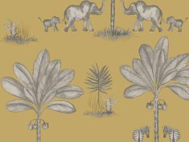 BN Wallcoverings Doodleedo Behang 220753 It Takes Two/Tropical/Dieren/Olifant/Palm/Kinderkamer