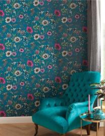 Arthouse Bloom Behang 676001 Botanical Songbird Teal/Bloemen/Floral/Botanisch