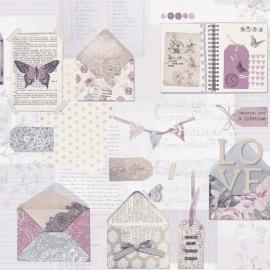 Arthouse Options2 Behang 671201 Nostalgisch/Brieven/Vlinders