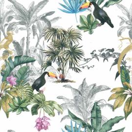Noordwand Sejours & Chambres Behang 51194704 Tropical/Toekan/Vogels/Botanisch/Natuurlijk/Bladeren/Palm