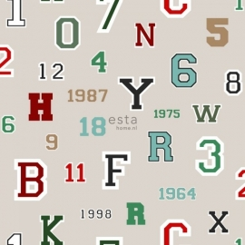 Esta Home College Behang 141-138834 Kinderkamer/Letters/Cijfers/Zand Behang