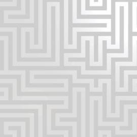 Dutch Wallcoverings Indulgence Behang 12910 Glistening Maze Grey/Labyrinth/Geometrisch