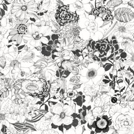 Esta Home Black & White Behang 155-138503 Bloemen/Modern/Retro/Zwart/Wit