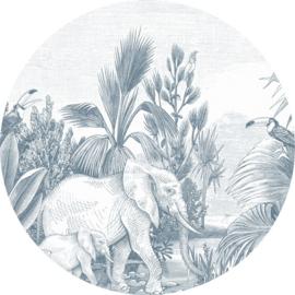 Esta Home Forest Friends Zelfklevende Behangcirkel 159089 Jungle/Dieren/Planten