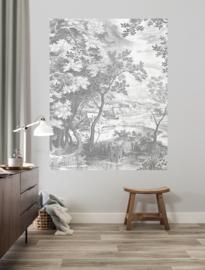 KEK Amsterdam II Fotobehang Panel PA-031 Engraved Landscapes/Panels/Boom/Natuur/Huizen/Grijs