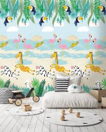 Behangexpresse Morris & Mila INK7264 Tropical Paradise/Dieren/Flamingo/Tropisch/Kinderkamer Fotobehang