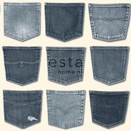 Esta Home Denim & Co Behang 137739 Jeans Pocket Light Blue/Spijkerbroeken/Tiener Behang