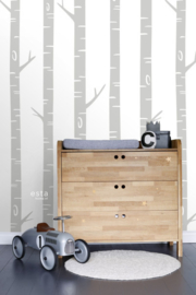 Esta Home let's Play Fotobehang 158924 Birch Tree/Berkenbomen/Grijs/Kinderkamer