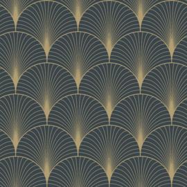 Esta Home Art Deco Behang 156-139231 Grafisch/Modern/Art deco motief/Donkerblauw
