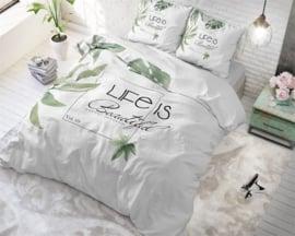 Royal Textile Dekbedovertrek Lits-Jumeaux Life is Green White/Botanisch/Bladeren/Natuurlijk