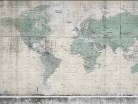 BN Wallcoverings BN Studio Fotobehang 200407 Concrete World/Wereldkaart/Map/Modern/Groen
